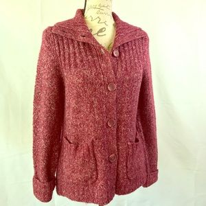 LL Bean Rust Red Cable Knitted Sweater Warm M